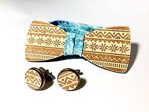 Doplnky - Motýlik Štrikovanec hnedý + manžetové gombiky - 8942598_
