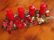 - Vianočný červený svietnik s mašľami 42cm - 8939485_