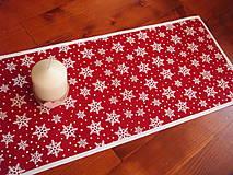 - Vianočná jutová štóla na stôl s vločkami 110cm - 8942398_