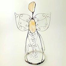 Dekorácie - Cínovaný anjel veľký 20-22 cm (Citrín) - 8945516_