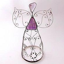 Dekorácie - Cínovaný anjel veľký 20-22 cm (Ametyst) - 8945522_