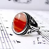 Prstene - Antique Silver Orange Agate Ring / Starostrieborný prsteň s oranžovým achátom /0427 - 8943049_