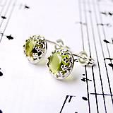 Náušnice - Vintage Peridot Earrings Silver Ag 925 / Napichovacie náušnice s olivínom /0429 - 8944406_