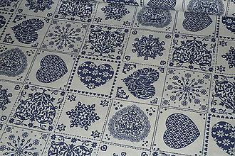 Textil - Látka Srdcový patchwork modrý - 8944885_