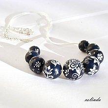 Náhrdelníky - Modrotiskový náhrdelník - 8944444_