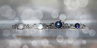 Prstene - Strieborný ligotavý prsteň s adulárom - Bokeh Moon - 8943216_
