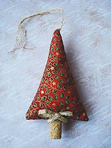 Dekorácie - Vianočné stromčeky, červený so zlatým - 8943728_