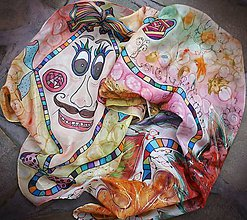 Šály - Pán Šarkan-detský hodvábny maľovaný šál - 8944757_