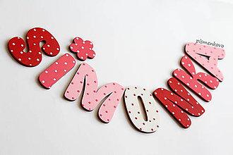 Tabuľky - bodkované meno SIMONKA drevené písmenká - 8945640_