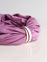 Šály - Ružovo-fialový nákrčník z exkluzívnej ľanovej pleteniny - 8944024_