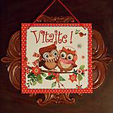 Tabuľky - Vianočná tabuľka Sovičky - 8945226_