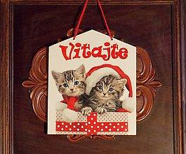Tabuľky - Vianočná tabuľka Mačičky z balíčka - 8945199_