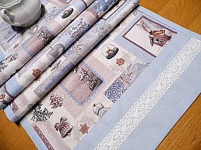 Úžitkový textil - vianočná štóla mrazivé ráno s krajkou  2. - obrus - 8943033_