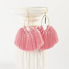 Náušnice - Ružové strapcové náušnice - 8942921_