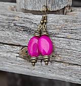 - Magentové jadeity v bronzovom - náušnice - 8945143_