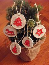 - Vianočné drevené ozdoby - sada 5 kusov - 8943476_