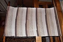 Úžitkový textil - Tkaný hnedo-biely koberec - 8945036_