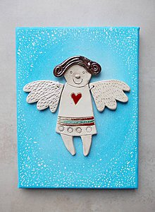 Obrázky - Keramický anjelik na plátne - 8948486_
