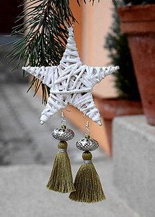Náušnice - Strapcové náušnice, zimná kolekcia (olivová zelená) - 8947592_