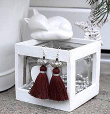 Náušnice - Strapcové náušnice, zimná kolekcia (hnedé) - 8947655_