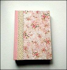 Papiernictvo - Ručne šitý diár/zápisník/sketchbook A5 Shabby roses - 8946541_