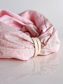 Šály - Jemný ružový ľanový nákrčník s kvetinovou bavlnou Liberty London - 8946974_