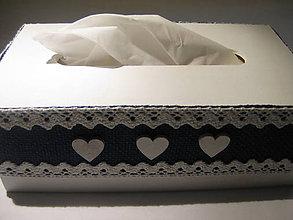 Krabičky - Jutový zásobník na vreckovky vidiecky (Modrá) - 8947010_