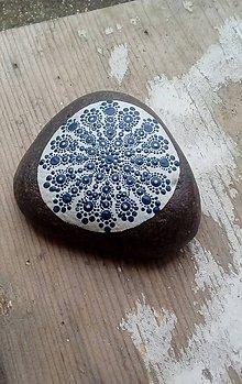 Kresby - Modré ornamenty - Na kameni maľované - 8947041_