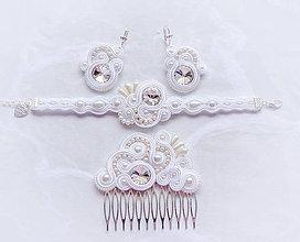Sady šperkov - Svadobná soutache sada - náramok, náušnice, hrebienok - 8946296_