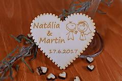 Gravírovaná drevená svadobná magnetka ako darček na redový tanec 115