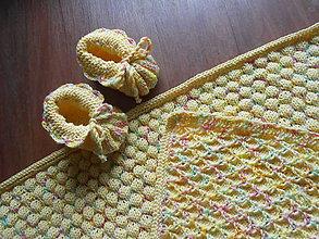 Textil - Pletená dětská deka a bačkůrky - 8951287_