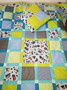 Úžitkový textil - Patchwork deka 200x125cm a vankúš 40x40cm 2. - 8950103_