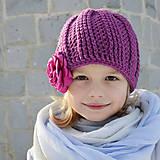 Detské čiapky - hrubá čiapka z MERINA s kvetom - 8951855_