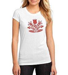 Tričká - Tričko dámske kvety - ľudový motív  - 8950838_