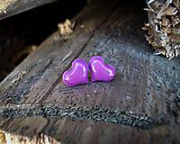 Náušnice - Srdiečka 10 mm (fialové) - 8949261_