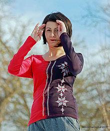 Tričká - Dámske tričko batikované, maľované, folk Z JABĹČKA HVIEZDIČKA - 8949023_