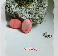 Náušnice - napichovačky elegancia ováliky prírodná perleť v lososovej - 8948897_
