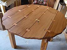 Nábytok - Okrúhly stôl z masívu, drevina dub a hruška - 8950553_