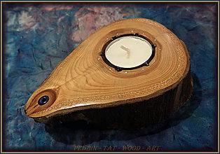 Svietidlá a sviečky - Drevený Svícen - TŮJE - synt. SPINEL - 8948725_