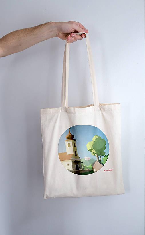 58c8524111 Textilná taška - Kostol   Komjatna - SAShE.sk - Handmade Nákupné tašky