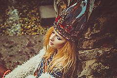 Ozdoby do vlasov - Bohémská čelenka z peria - 8951216_