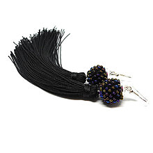 Náušnice - TASSEL čierna - dlhé náušnice so strapcom - 8951017_