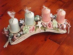 Dekorácie - Vianočný svietnik PINK a MINT 37cm - 8949649_