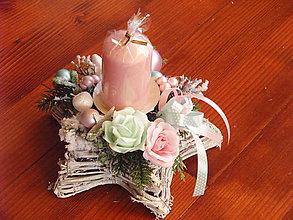 Svietidlá a sviečky - Vianočný svietnik PINK a MINT so sviečkou - 8949670_
