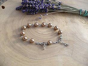 Náramky - ruženec na ruku z perál z mušlí-chirurgická oceľ - 8951225_