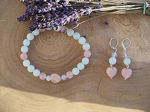 Sady šperkov - pastelová súprava z Ruženínových srdiečok, Jadeitu a Opalitu - 8951838_