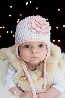 Detské čiapky - Jesenno-zimná ušianka NEŽNÁ S KVIETKOM - 8952632_