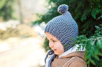 Detské čiapky - Zimný pixie čepček s brmbolcom TMAVO ŠEDÝ - 8952795_