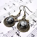 Náušnice - Ornaments & Gemstone Earrings / Bronzové náušnice s ornamentmi /0435 (Snowflake Obsidian / Vločkový obsidián) - 8953614_