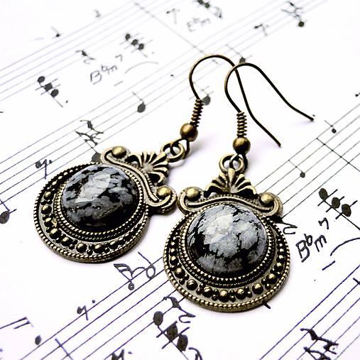 Ornaments & Gemstone Earrings / Bronzové náušnice s ornamentmi /0435 (Snowflake Obsidian / Vločkový obsidián)